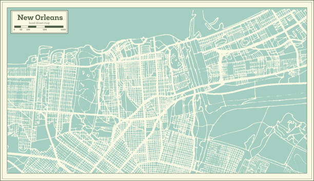new orleans louisiana usa city map in retro style. outline map. - architecture borders stock illustrations