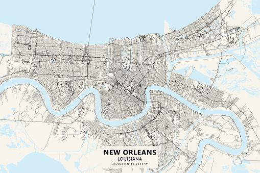 New Orleans, Louisiana USA Vector Map