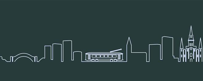 New Orleans Single Line Skyline