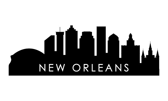 New Orleans skyline silhouette. Black New Orleans city design isolated on white background.