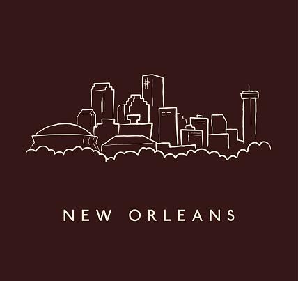New Orleans Skyline Sketch