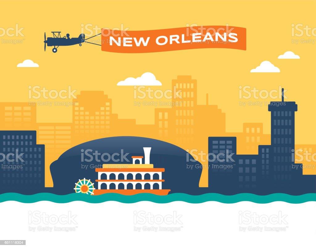 New Orleans Skyline vector art illustration