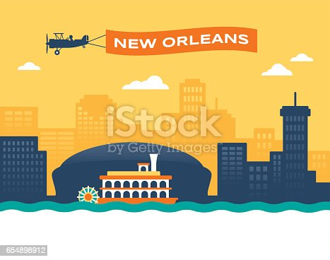 New Orleans skyline cityscape with plane banner and paddlewheeler boat background.