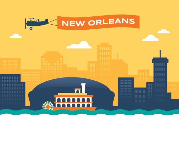 New Orleans Skyline New Orleans skyline cityscape with plane banner and paddlewheeler boat background. waterfront stock illustrations