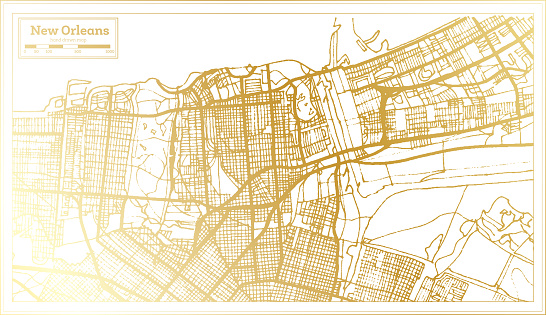 New Orleans USA City Map in Retro Style in Golden Color. Outline Map.