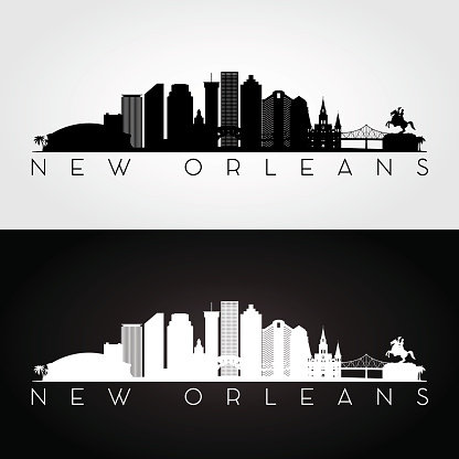 New Orleans USA skyline and landmarks silhouette