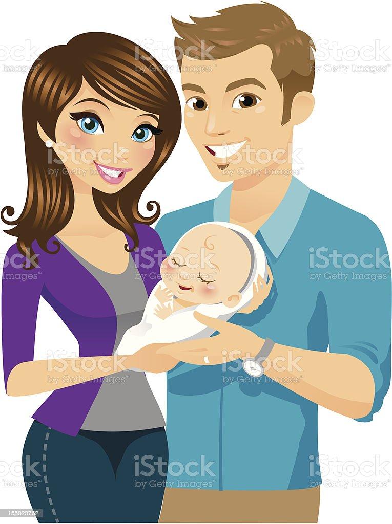New Parents vector art illustration