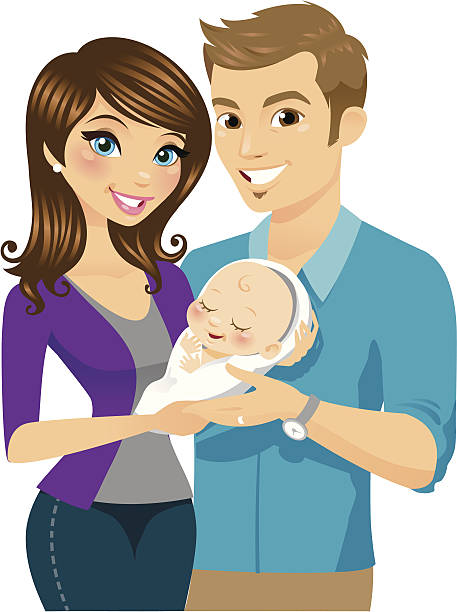 ilustrações, clipart, desenhos animados e ícones de novos pais - novo bebê