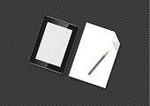 New powerful tablets, new advanced technologies are compared to ordinary paper and pencil, business device, tablet, screen, future technology with a pencil, paperless concept idea, flat vector. - Vector graphics