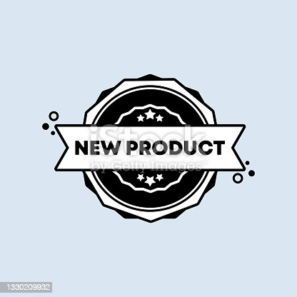 istock New product badge. Vector. New product stamp icon in black. Certified badge logo. Stamp Template. Label, Sticker, Icons. Vector EPS 10. Isolated on background 1330209932