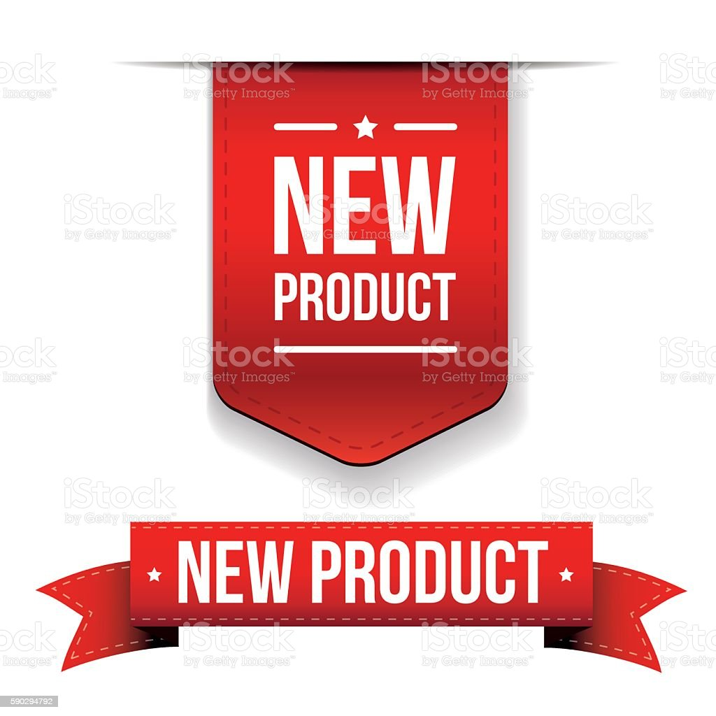 New Product red ribbon new product red ribbon — стоковая векторная графика и другие изображения на тему Бизнес Стоковая фотография