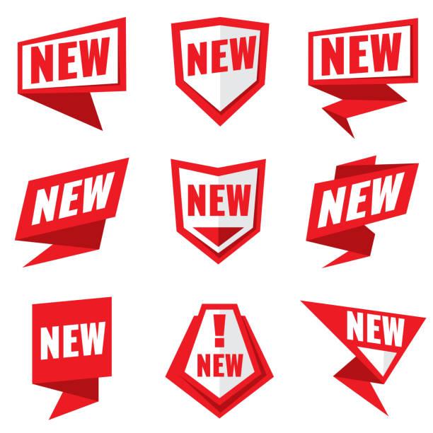 ilustrações de stock, clip art, desenhos animados e ícones de new product status vector labels - new