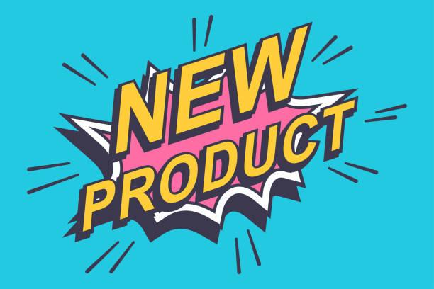 새로운 제품 스티커, 라벨입니다. 벡터 만화 거품 아이콘 파란색 배경에 고립. - 새로운 stock illustrations