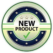 New product silver label with stars.