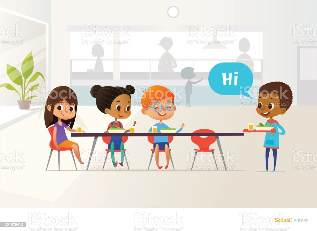 New pupil carrying tray of food and greeting classmates sitting at table in canteen. Children having lunch. Making school friends concept. Vector illustration for banner, website, poster, flyer. vector art illustration