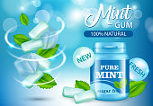 New pure mint and sugar free chewing gum ad, vector realistic illustration