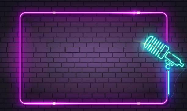 stockillustraties, clipart, cartoons en iconen met nieuwe realistische geïsoleerde neon teken of symbool van de microfoon met frame logo voor decoratie en bekleding op de achtergrond wand. night club, live muziek en karaoke bar concepten. eps 10 - zanger