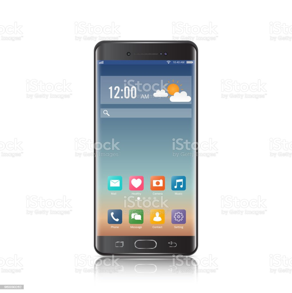 New realistic mobile black smartphone modern style. Vector smartphone with ui icons. isolated on white background. vector art illustration