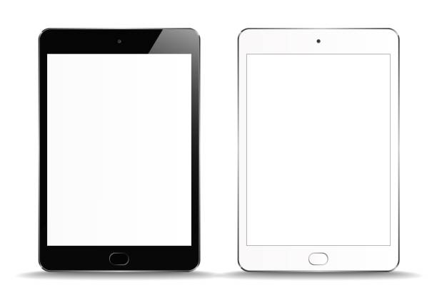 bildbanksillustrationer, clip art samt tecknat material och ikoner med ny realistisk uppsättning av vit och svart tablet pc-dator på vit bakgrund. kan användas för mall, projekt, presentation eller banner. elektronisk gadget, enhets uppsättning mock up. vektor illustration - ipad