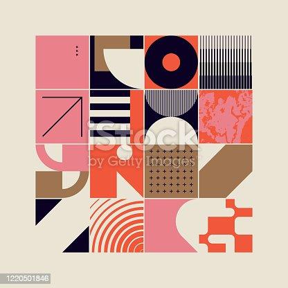 istock New Retro Pattern Artwork Design Composition 1220501846