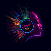 Female profile in new retro wave style with night city in colored lights