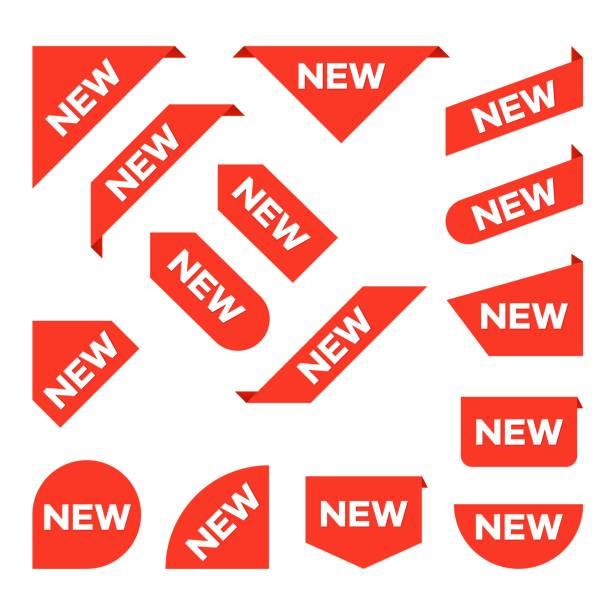 새로운 리본입니다. 코너 배너, 새로운 태그 레이블 및 현재 버튼 벡터 격리 설정 - 새로운 stock illustrations