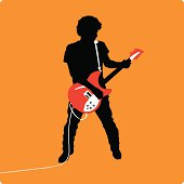 Rock Guitarist with a Red Guitar... Rocking out! Zipped folder contains .ai, .eps, jpg, Source and AI8.eps files. Change sizes/colors and seperate elements as needed.