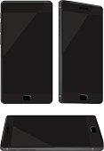 New Shiny Black Mobile Phone Isolated on White