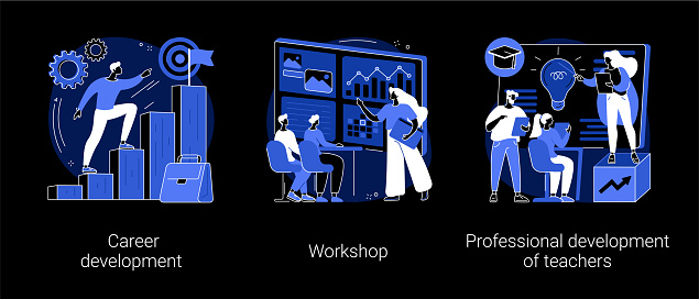 New skills gain abstract concept vector illustrations.