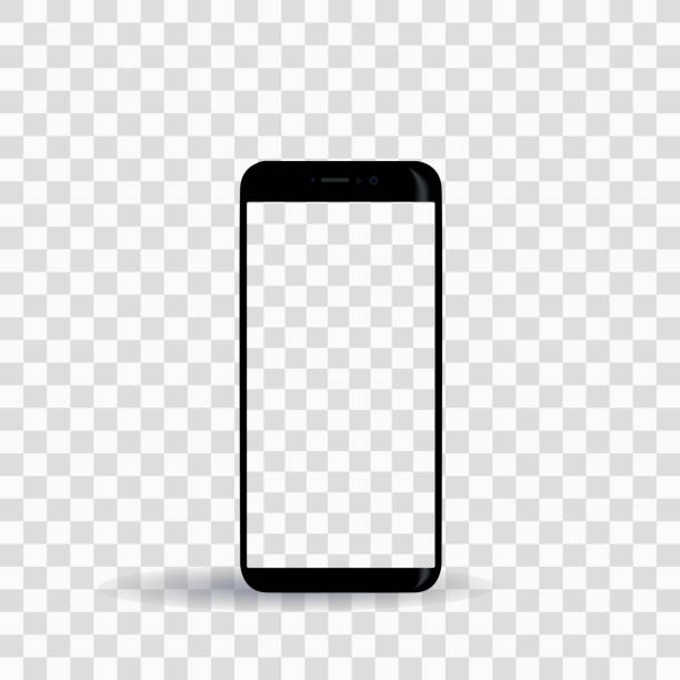 new smartphone template on transparent background - smartphone stock illustrations