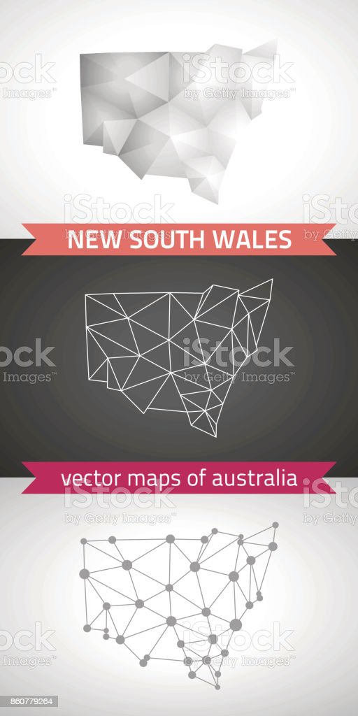 3d Map Of South Australia.New South Wales Collection Of Vector Design Modern Maps Gray And