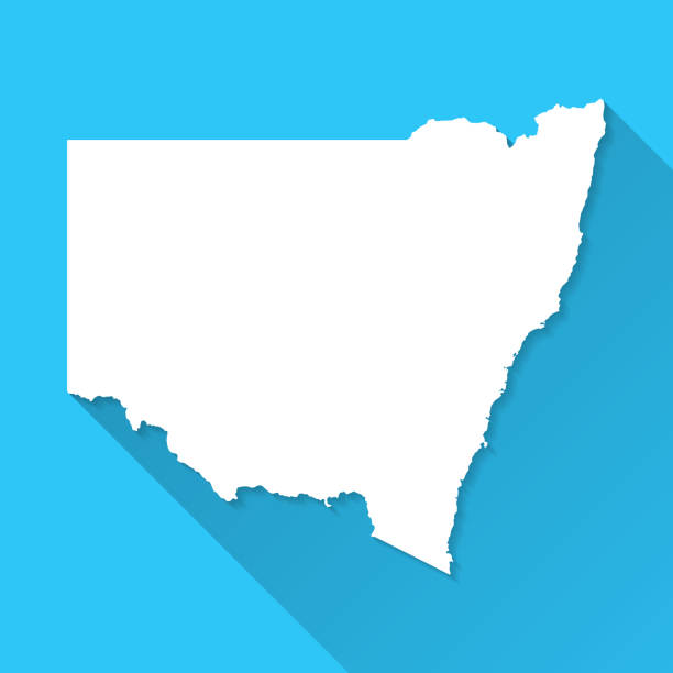 New South Wales map with long shadow on blue background - Flat Design vector art illustration