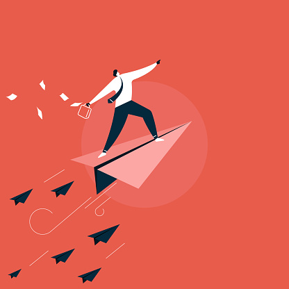 new Startup, businessman In Business Suit Standing On Paper Plane Flying Up Vector, growth and progress concept