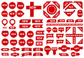 New sticker badge. Newest arrival sale ribbon stickers, red badges and new flag sign. Sell stickers products tag or special sale offer price badge. Vector isolated symbols set