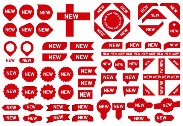 새로운 스티커 배지. 최신 도착 판매 리본 스티커, 빨간 배지 및 새로운 깃발 표시 벡터 세트 - 새로운 stock illustrations