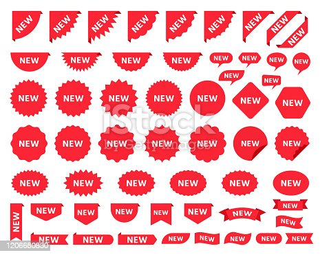New sticker. Vector. Sale price tag product. Circle, corner, cloud badges. Red icons promo labels. Starburst shapes isolated on white background. Flat illustration. Set of new arrival pricetag signs.