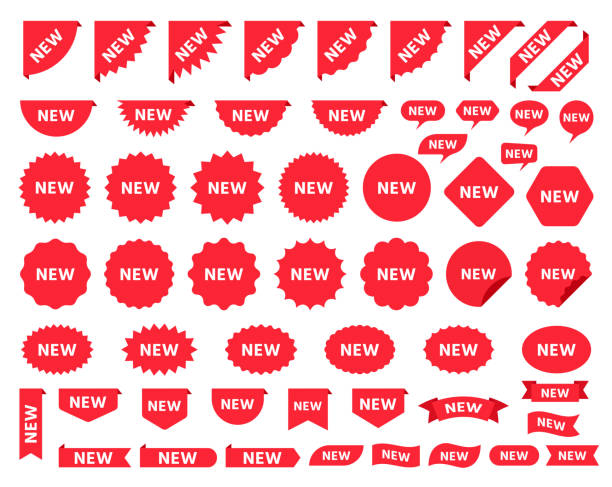 ilustrações de stock, clip art, desenhos animados e ícones de new sticker. sale price tag product badges. vector illustration. - new