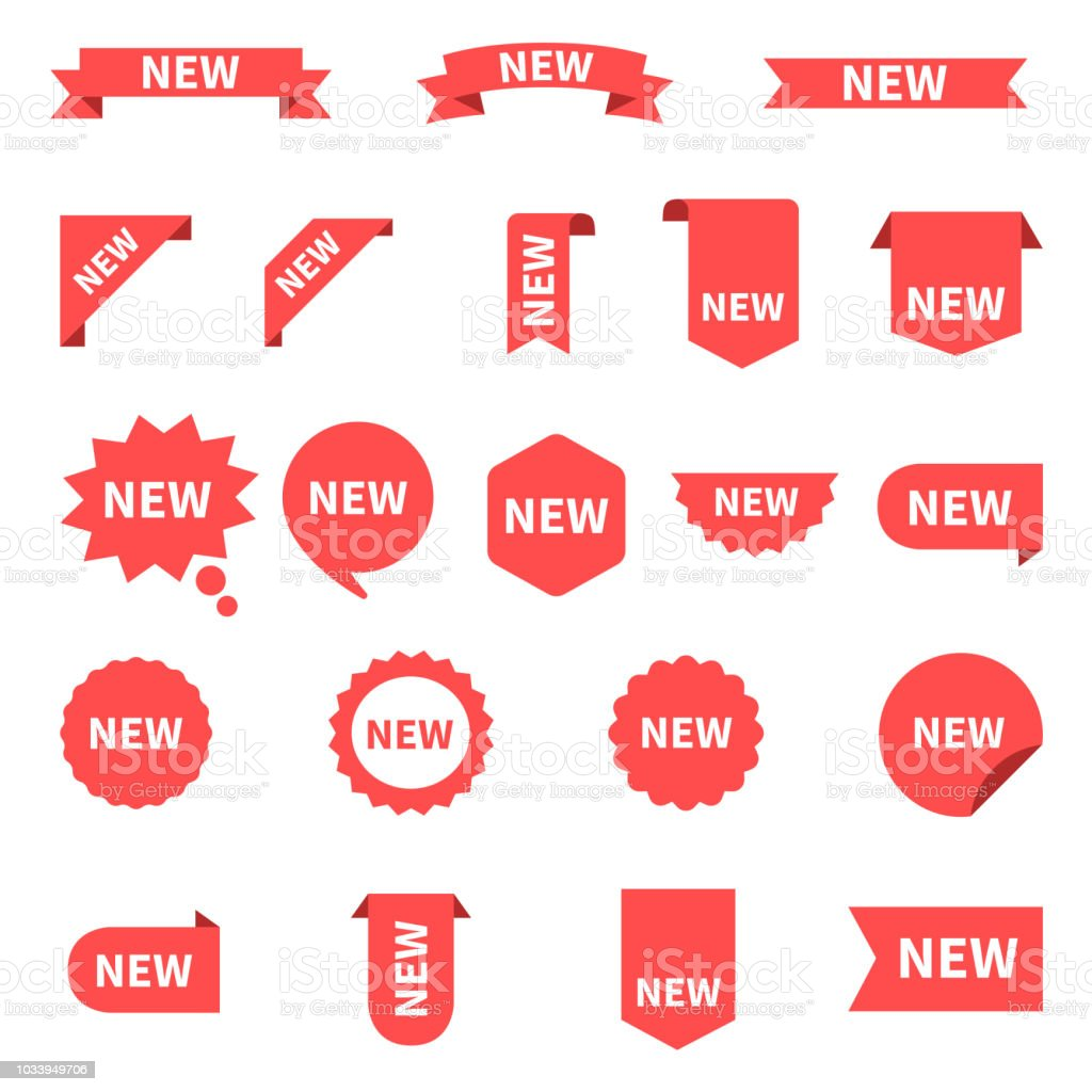 New sticker set labels product stickers with offer new labels or sale posters and banners sticker icon with text red isolated on white background