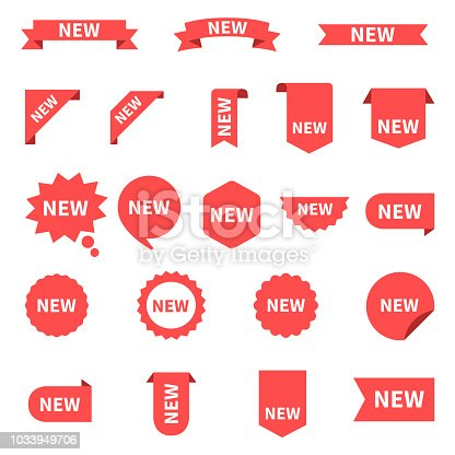 New sticker set labels. Product stickers with offer. New labels or sale posters and banners. Sticker icon with text. Red isolated on white background, vector illustration