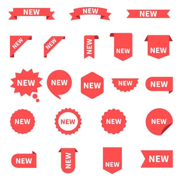 neue aufkleberset etiketten. produkt-aufkleber mit angebot. neue labels oder verkauf plakate und banner. aufkleber-symbol mit text. rot auf weißem hintergrund, vektor-illustration isoliert. - flat icons stock-grafiken, -clipart, -cartoons und -symbole
