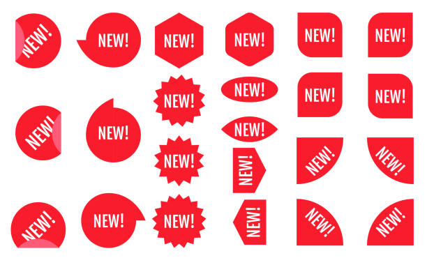 New sticker set. Red promotion labels.  Modern vector flat style illustration isolated on white background. Red promotion labels for new arrivals shop section. vector art illustration