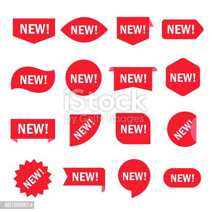 New sticker set. Red promotion labels for new arrivals shop section. Vector flat style cartoon illustration isolated on white background