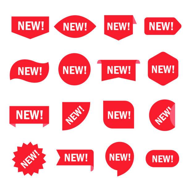 ilustrações de stock, clip art, desenhos animados e ícones de new sticker set - new
