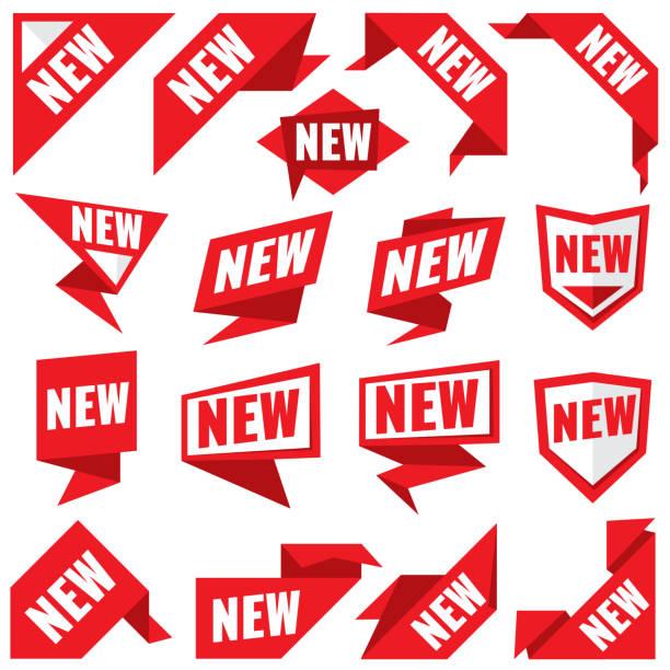 ilustrações de stock, clip art, desenhos animados e ícones de new stickers vector modern labels and corner red banners - new