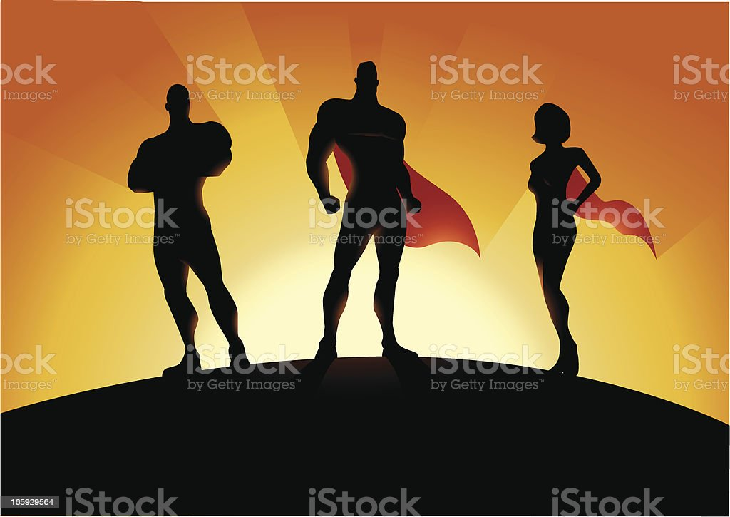 New Superhero Team vector art illustration
