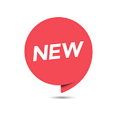 New Tag or Red Label Icon Flat Design on White Background.