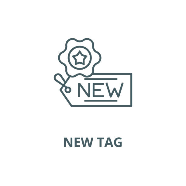 yeni etiket vektör çizgi simgesi, doğrusal kavram, anahat işareti, sembol - sale stock illustrations