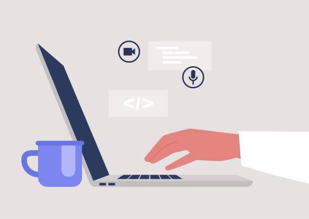 ilustrações, clipart, desenhos animados e ícones de novas tecnologias, uma visão lateral de um laptop aberto, millennials no trabalho, uma indústria de startups - working in café