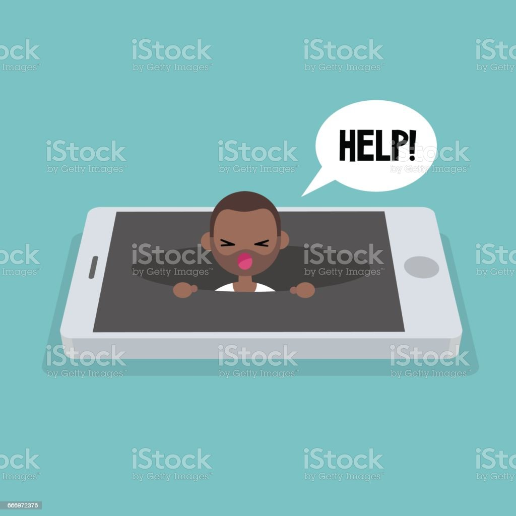 New technologies addiction. Young black man calling for help in the pit / editable flat vector illustration, clip art vector art illustration