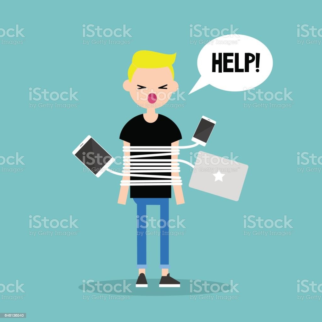 New technologies addiction. Young blond boy tied up with charging wires vector art illustration